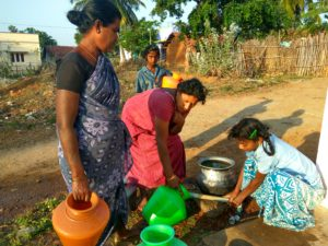gathering water in india